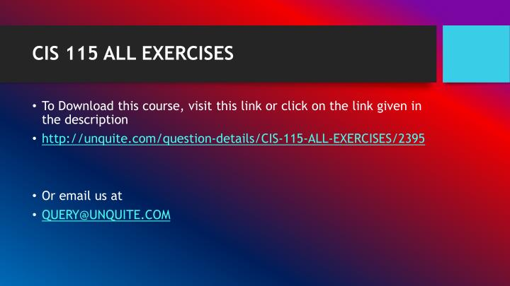 CIS 115 ALL EXERCISES