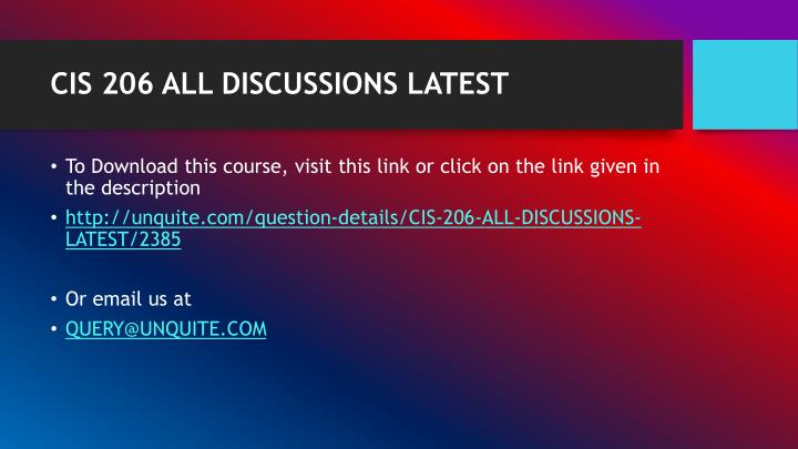 Cis 206 all discussions latest1