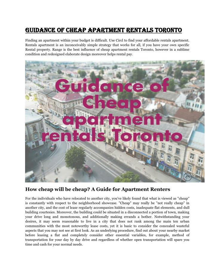 Guidance of Cheap apartment rentals Toronto