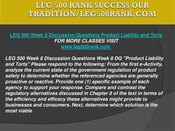 LEG 500 RANK Success Our Tradition/leg500rank.com