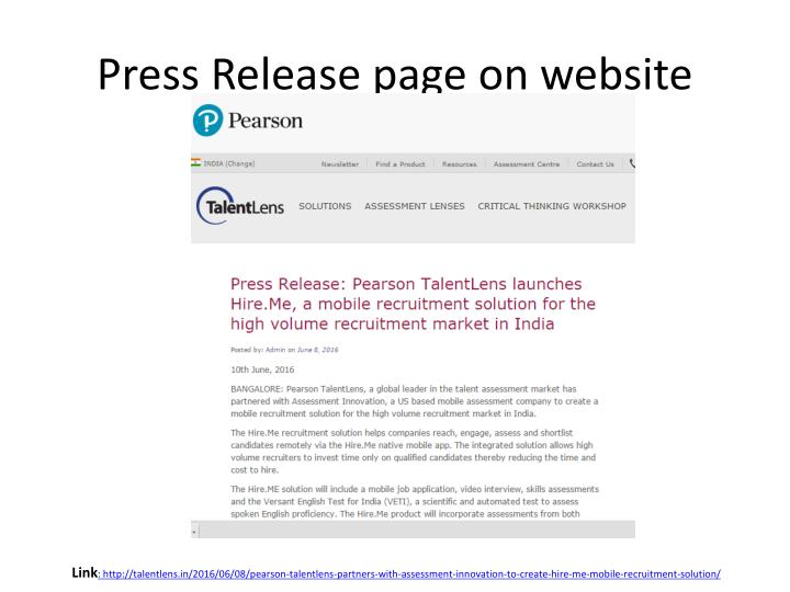 Press Release page on website