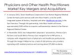 physicians and other health practitioners market key mergers and acquisitions