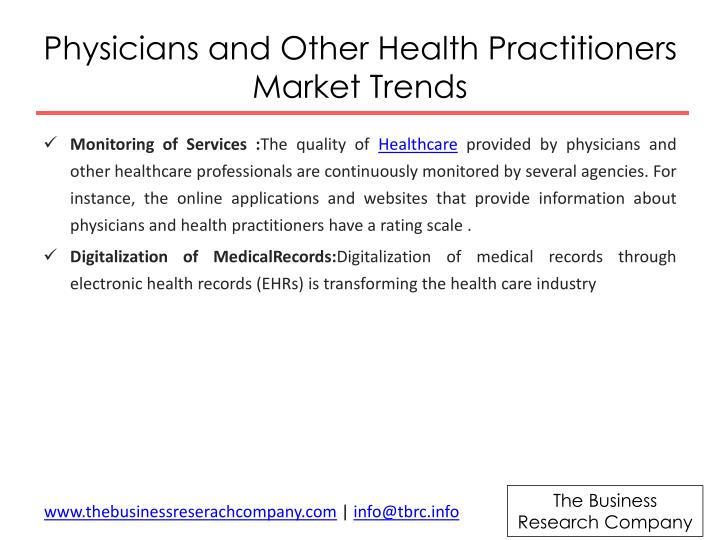 Physicians and other health practitioners market trends