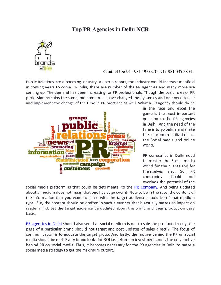 Top PR Agencies in Delhi NCR