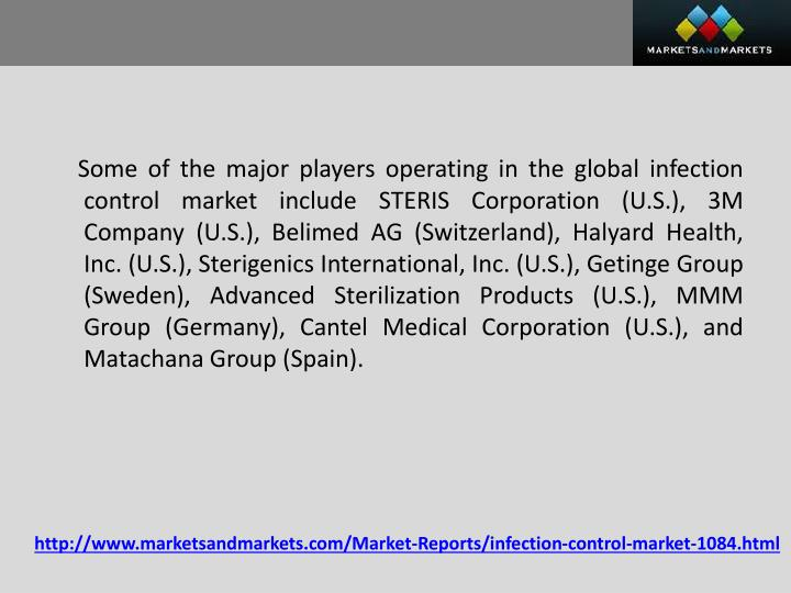 Some of the major players operating in the global infection control market include STERIS Corporation (U.S.), 3M Company (U.S.),