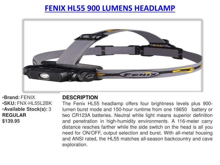 FENIX HL55 900 LUMENS HEADLAMP