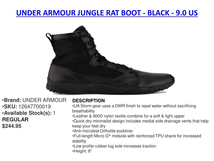 UNDER ARMOUR JUNGLE RAT BOOT - BLACK - 9.0 US