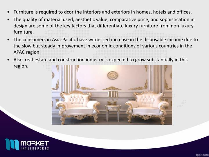 Furniture is required to dcor the interiors and exteriors in homes, hotels and offices.