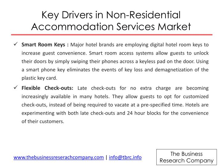 Key Drivers in Non-Residential Accommodation Services M