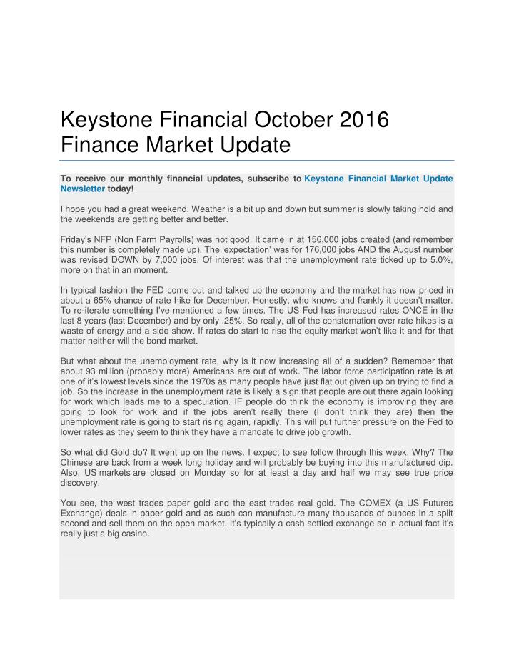 Keystone Financial October 2016