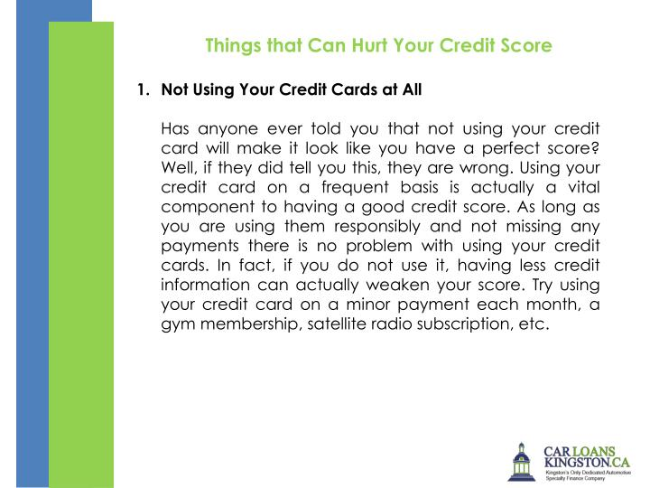 Things that Can Hurt Your Credit Score