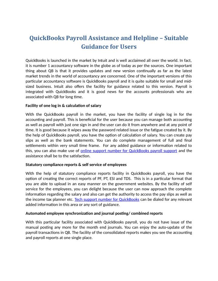 QuickBooks Payroll Assistance and Helpline – Suitable