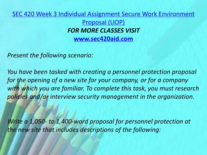 SEC 420 Week 3 Individual Assignment Secure Work Environment Proposal (UOP)