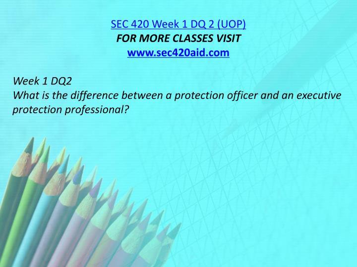 SEC 420 Week 1 DQ 2 (UOP)