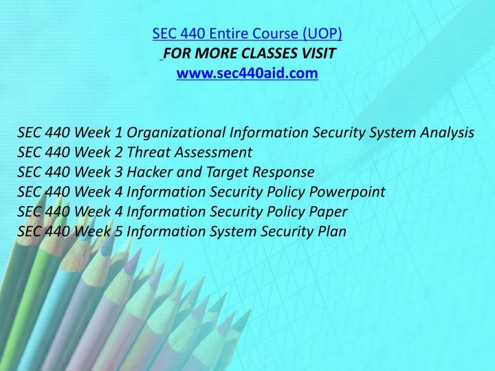 SEC 440 Entire Course (UOP)