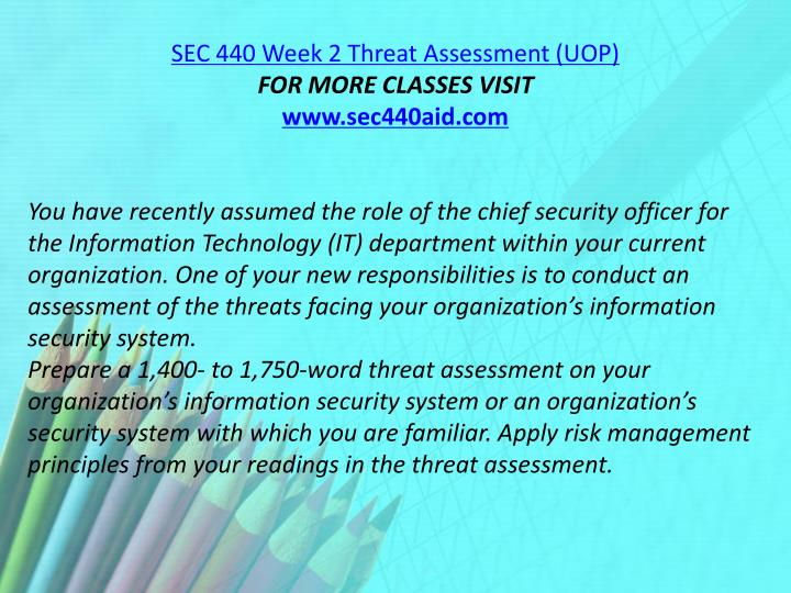 SEC 440 Week 2 Threat Assessment (UOP)