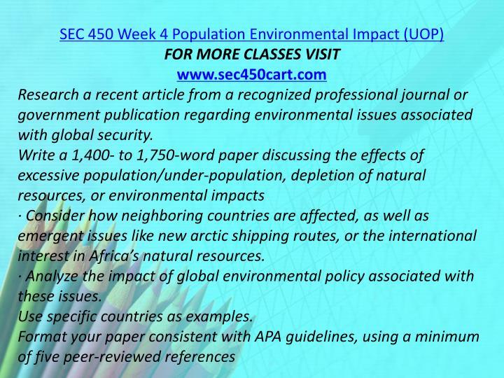 SEC 450 Week 4 Population Environmental Impact (UOP)