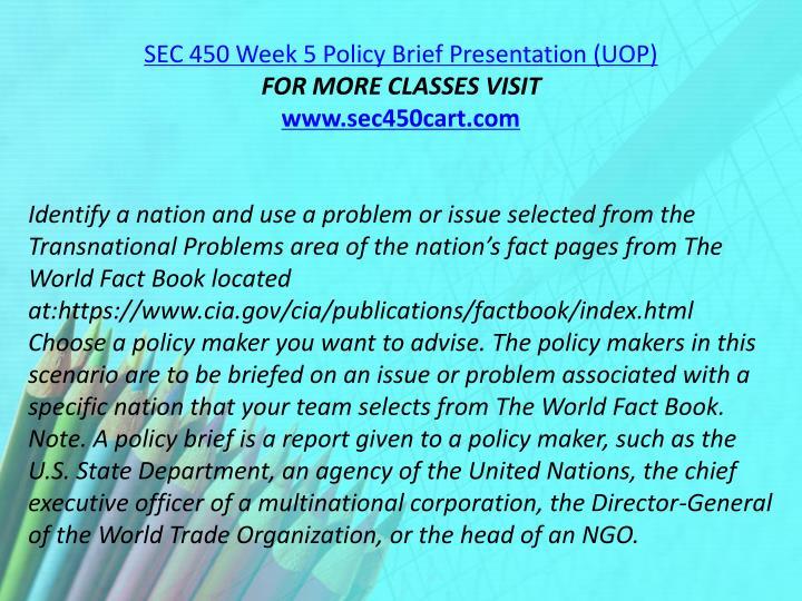 SEC 450 Week 5 Policy Brief Presentation (UOP)