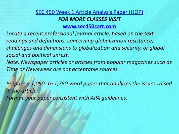 SEC 450 Week 1 Article Analysis Paper (UOP)