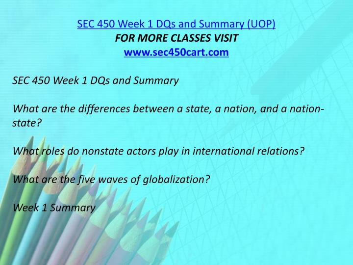 SEC 450 Week 1 DQs and Summary (UOP)