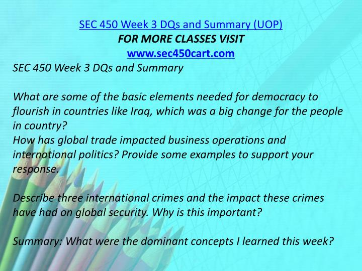 SEC 450 Week 3 DQs and Summary (UOP)