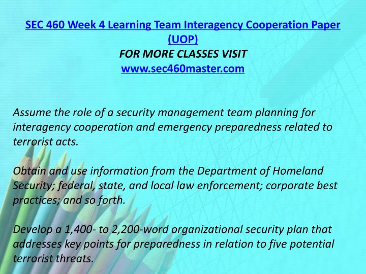 SEC 460 Week 4 Learning Team Interagency Cooperation Paper (UOP)