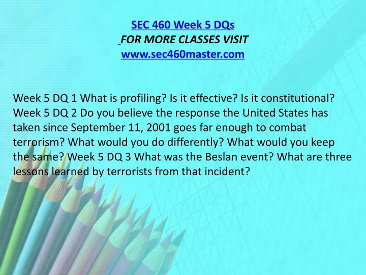 SEC 460 Week 5 DQs