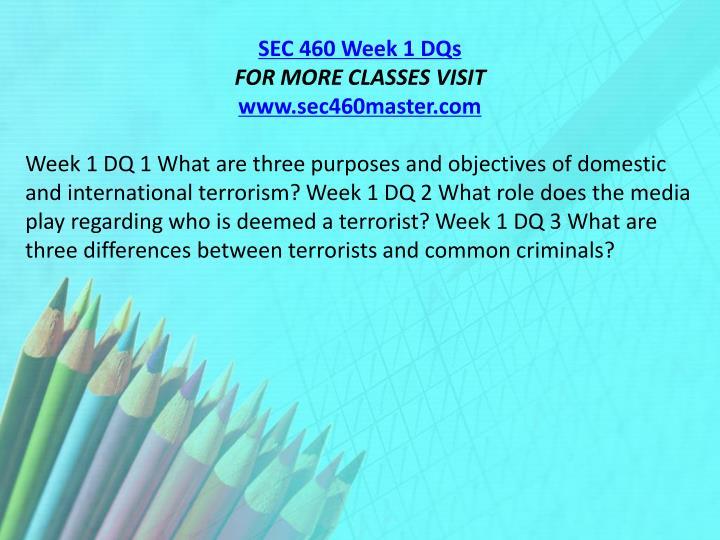 SEC 460 Week 1 DQs