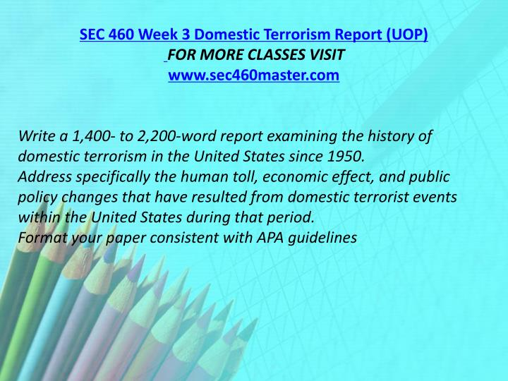SEC 460 Week 3 Domestic Terrorism Report (UOP)