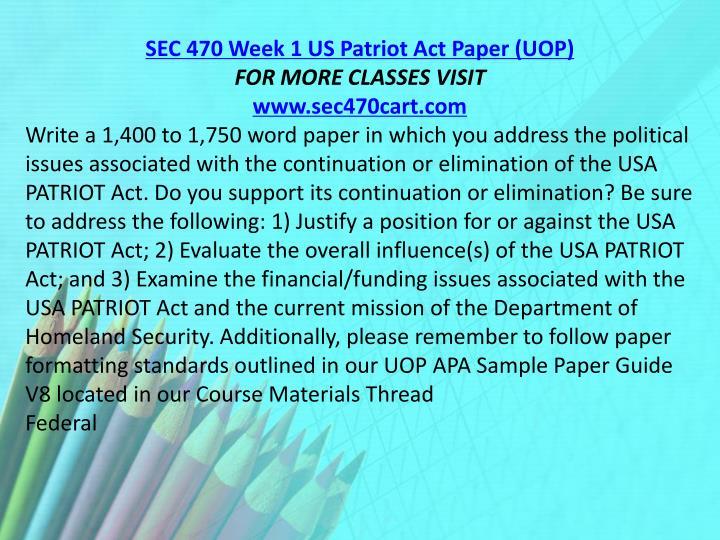 SEC 470 Week 1 US Patriot Act Paper (UOP)