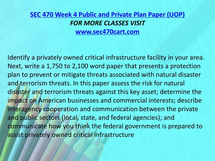 SEC 470 Week 4 Public and Private Plan Paper (UOP)