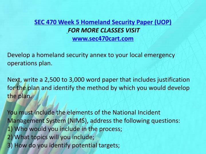 SEC 470 Week 5 Homeland Security Paper (UOP)