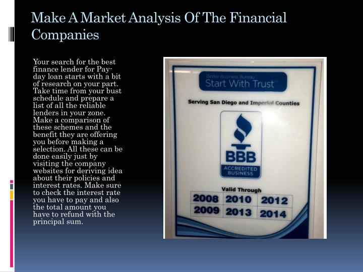 Make A Market Analysis Of The Financial Companies