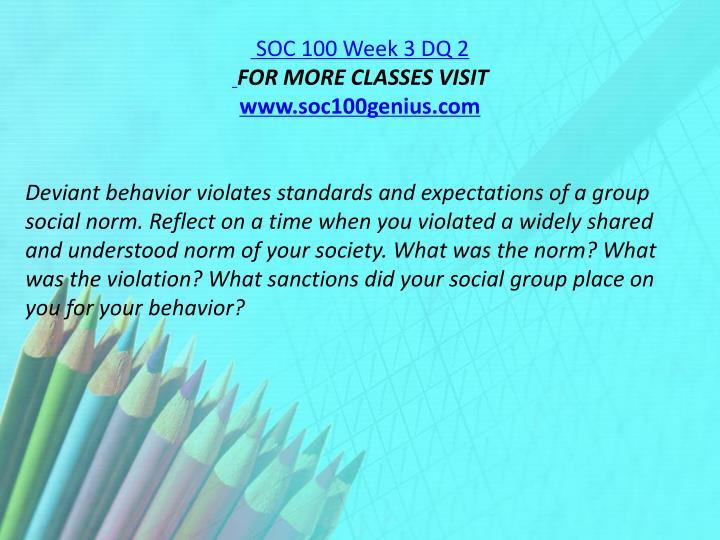 SOC 100 Week 3 DQ 2