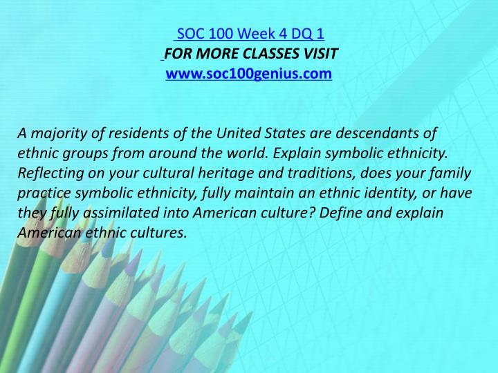 SOC 100 Week 4 DQ 1