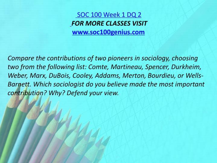 SOC 100 Week 1 DQ 2