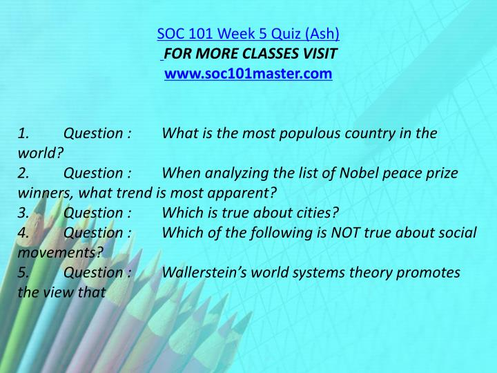 SOC 101 Week 5 Quiz (Ash)
