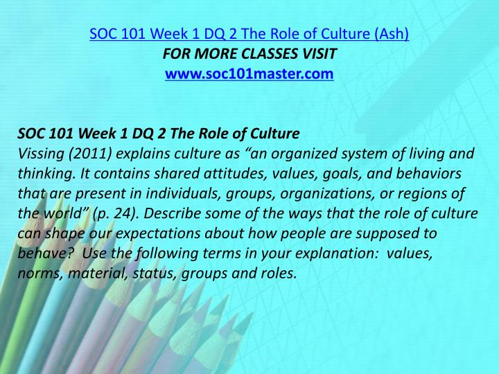 SOC 101 Week 1 DQ 2 The Role of Culture (Ash)