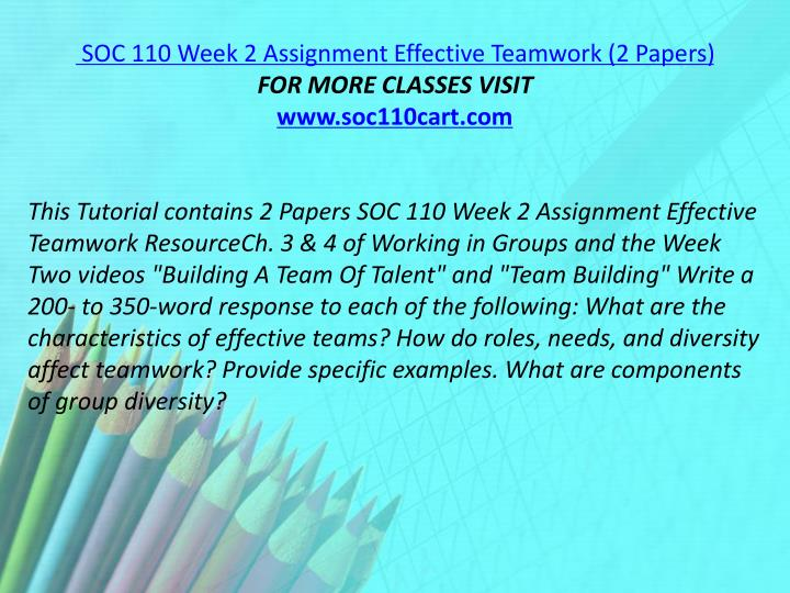SOC 110 Week 2 Assignment Effective Teamwork (2 Papers)