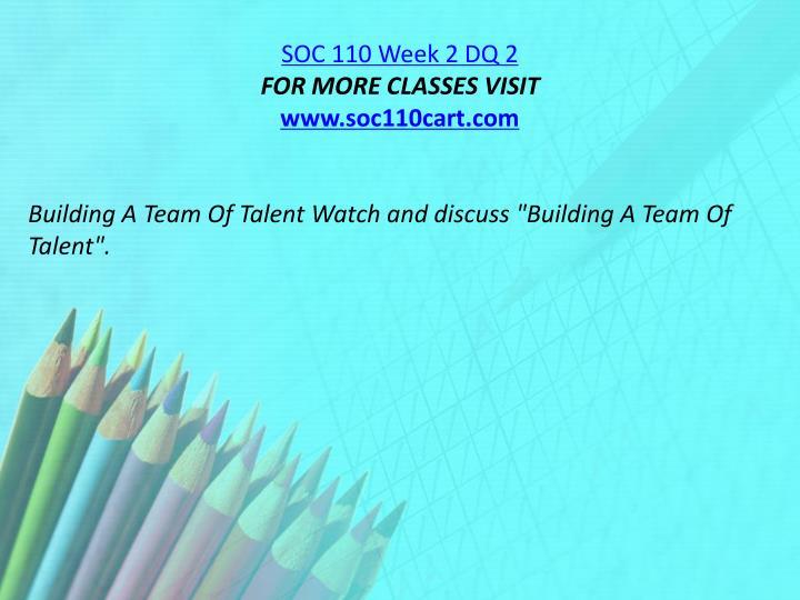 SOC 110 Week 2 DQ 2