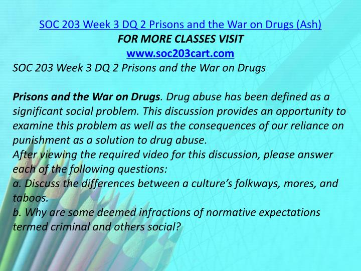 SOC 203 Week 3 DQ 2 Prisons and the War on Drugs (Ash)