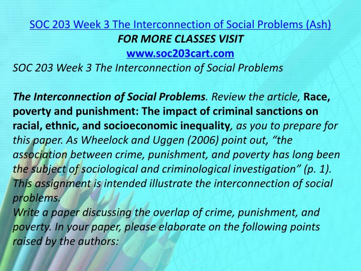 SOC 203 Week 3 The Interconnection of Social Problems (Ash)