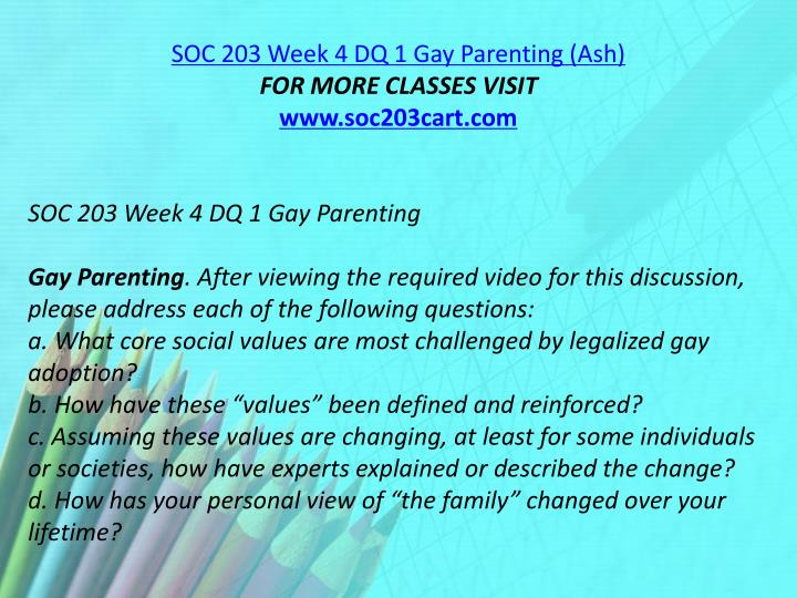 SOC 203 Week 4 DQ 1 Gay Parenting (Ash)