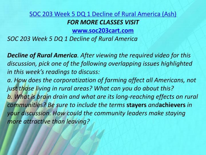 SOC 203 Week 5 DQ 1 Decline of Rural America (Ash)