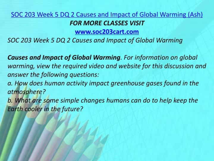SOC 203 Week 5 DQ 2 Causes and Impact of Global Warming (Ash)