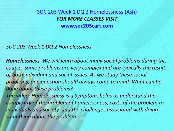 SOC 203 Week 1 DQ 2 Homelessness (Ash)