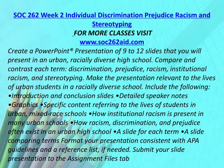 SOC 262 Week 2 Individual Discrimination Prejudice Racism and Stereotyping
