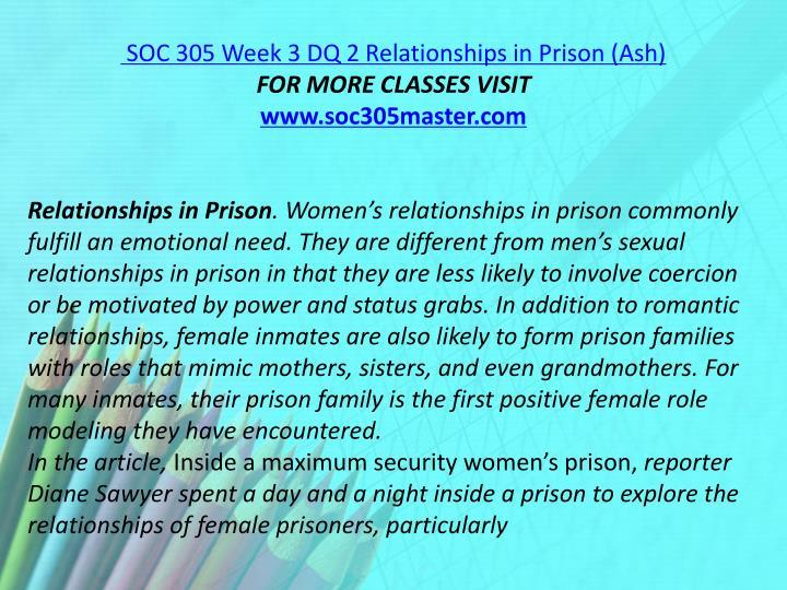 SOC 305 Week 3 DQ 2 Relationships in Prison (Ash)
