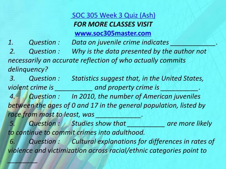 SOC 305 Week 3 Quiz (Ash)