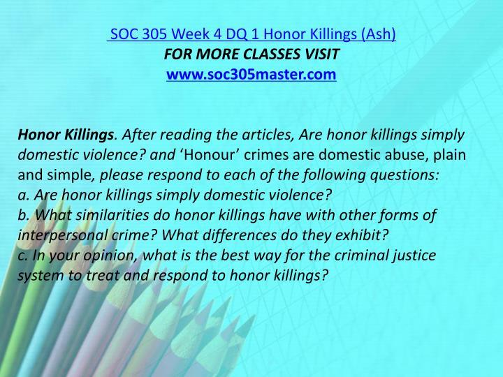 SOC 305 Week 4 DQ 1
